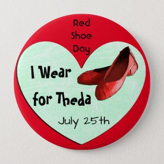 全体的で赤い靴日のLymeの認識度ボタン 缶バッジ