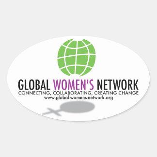 全体的な女性のネットワークのステッカー 楕円形シール