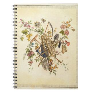 「全作品contenant国連からの庭の織物のデザイン、 ノートブック