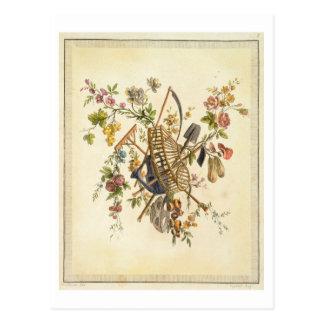 「全作品contenant国連からの庭の織物のデザイン、 ポストカード