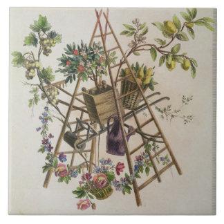 「全作品contenant uからの庭の織物のデザイン、 タイル