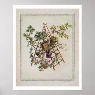 「全作品contenant uからの庭の織物のデザイン、 ポスター