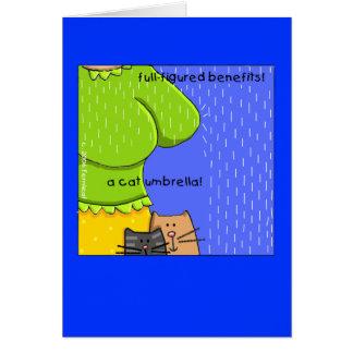 全姿のおもしろい、猫の傘 カード