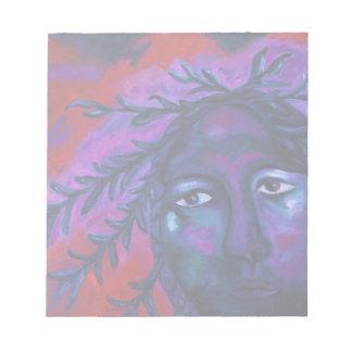 全深紅色及びすみれ色の同情を見ている母 ノートパッド