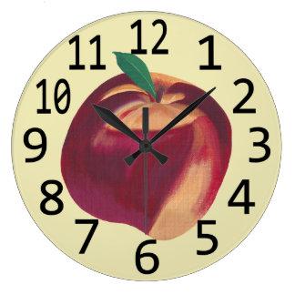 全熟したモモのフルーツのテーマの柱時計 ラージ壁時計