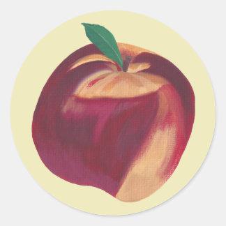 全熟したモモ、フルーツのステッカーの絵画 ラウンドシール