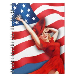 全米の女の子。 ヴィンテージPinのデザインのノート ノートブック