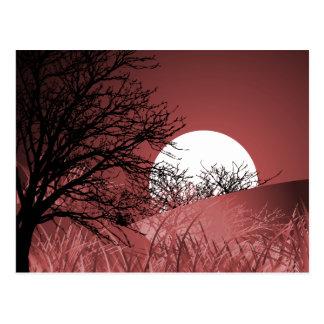 全視野の月-赤 ポストカード