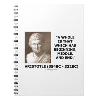 全開始の中間の端があるアリストテレス ノートブック