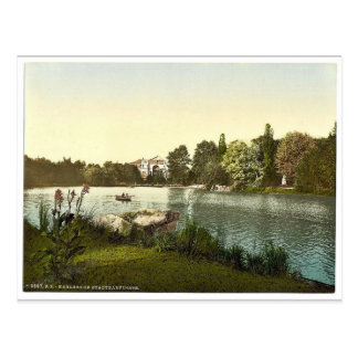 公共庭、カルルスルーエ、Baden、ドイツmの湖 ポストカード