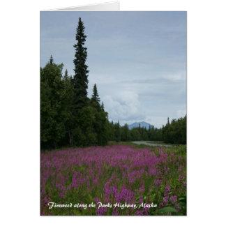 公園のハイウェーに沿うFireweed、アラスカ カード
