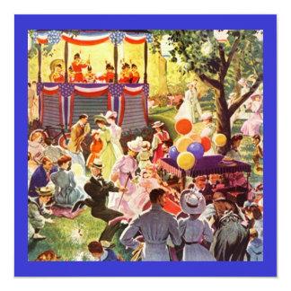 公園のピクニック招待状のレトロの陽気なパーティー 13.3 スクエアインビテーションカード