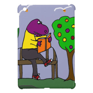 公園のベンチのおもしろいなTレックスの恐竜の読書 iPad MINIケース