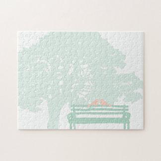 公園のベンチの結婚式の鳥 ジグソーパズル