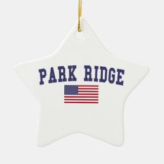 公園のリッジ米国の旗 セラミックオーナメント