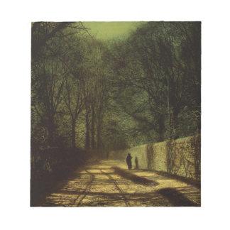 公園の壁、Roundhay公園、Leedの木の影 ノートパッド