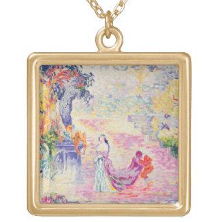 公園の女性、1909年(キャンバスの油) ゴールドプレートネックレス