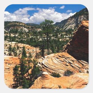 公園の渦巻く砂岩形成Zionユタ スクエアシール