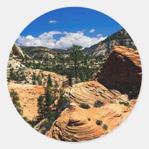 公園の渦巻く砂岩形成Zionユタ ラウンドシール
