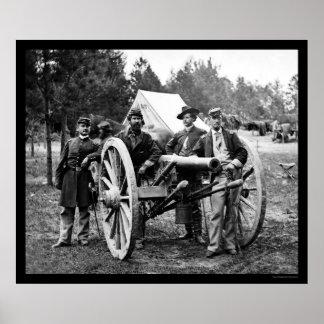 公平なカシの人そして大砲、VAの野営1862年 ポスター