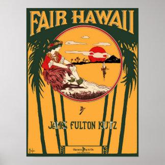 公平なハワイのヴィンテージの楽譜カバー ポスター