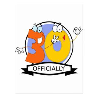 公式に30の誕生日の旗 ポストカード