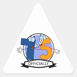 公式に75の誕生日の旗 三角形シール