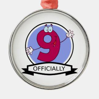 公式に9つの誕生日の旗 メタルオーナメント