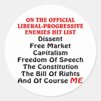 公式の自由主義者進歩的な敵衝突リスト ラウンドシール
