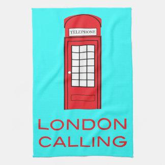 公衆電話ボックスを呼ぶロンドン ハンドタオル
