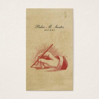 公証人のヴィンテージのペン手のシンプルのカッコいいのプロフェッショナル 名刺