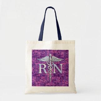 公認看護師RNの銀製のケリュケイオンの明るい赤紫色の迷彩柄 トートバッグ