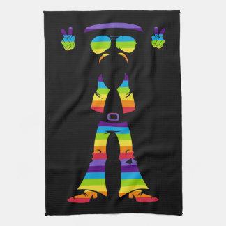 六十年代の平和ヒッピーの虹のシルエット キッチンタオル
