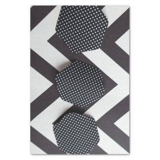 六角形のティッシュペーパーが付いている白黒シェブロン 薄葉紙