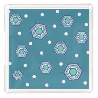 六角形のティール(緑がかった色)の皿 アクリルトレー