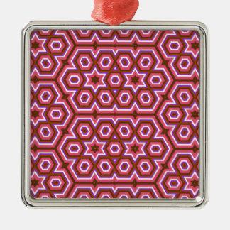 六角形の万華鏡のように千変万化するパターンパターンラズベリー メタルオーナメント