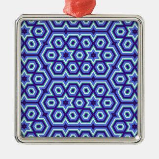 六角形の万華鏡のように千変万化するパターンパターン青 メタルオーナメント