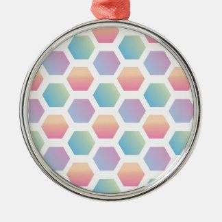 六角形の多彩パターン メタルオーナメント