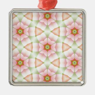 六角形の幾何学的なフラクタルのピンクの花びら メタルオーナメント