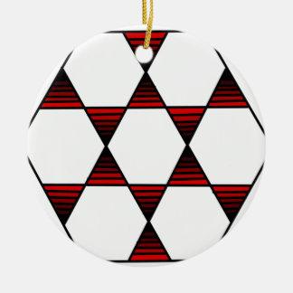 六角形の星の赤 セラミックオーナメント