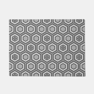 六角形の着物のプリント、灰色/灰色および白 ドアマット