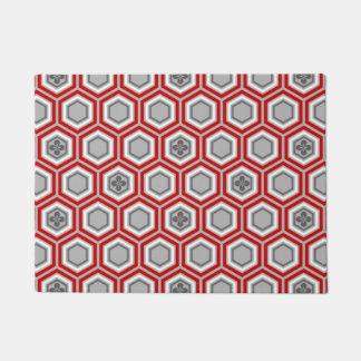 六角形の着物のプリント、赤いおよび灰色/灰色 ドアマット