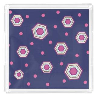 六角形の青の皿 アクリルトレー
