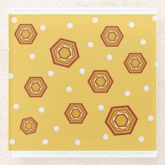 六角形の飲み物のコースターとの黄色 ガラスコースター