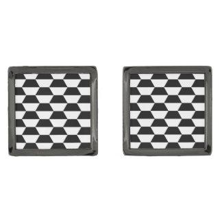 六角形白黒パターン正方形のカフスボタン ガンメタルカフスボタン
