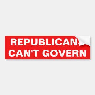 共和党員は支配できません バンパーステッカー