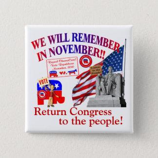 共和党員は11月のアンチオバマケアで覚えています 5.1CM 正方形バッジ