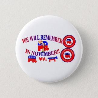 共和党員は11月のアンチオバマケアで覚えています 5.7CM 丸型バッジ