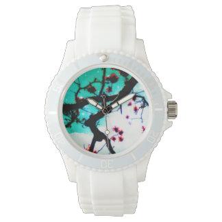 共存の赤い花のデザイン 腕時計