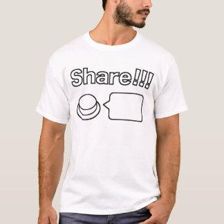 共有か社会的なボタン: 共有!!! Tシャツ
